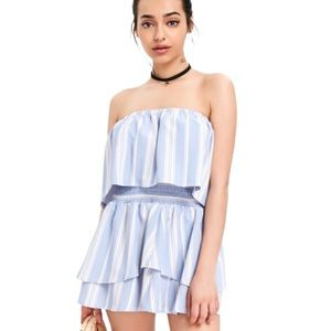 Zaful Blue Striped Overlay Top Tiered Skirt Set